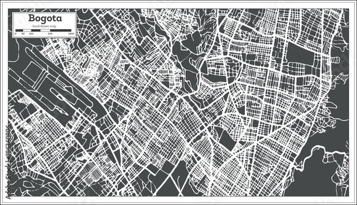 Canvas Print Bogota Colombia City Map in Retro Style. Outline Map.