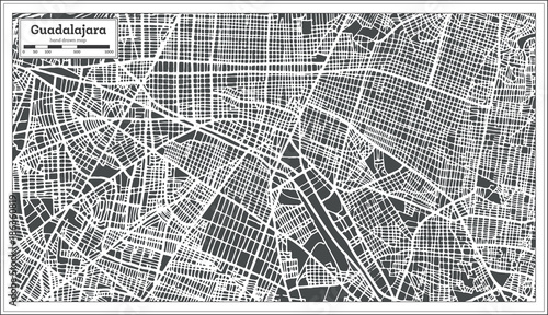 Guadalajara Mexico City Map in Retro Style. Outline Map.