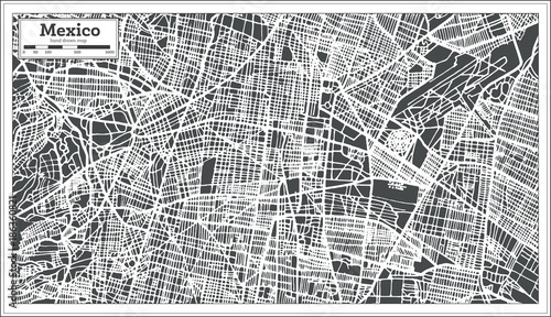 Photo Mexico City Map in Retro Style. Outline Map.
