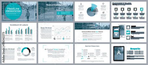 Fotografía  Business presentation slides templates from infographic elements