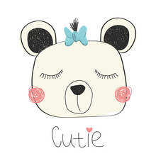 Cutie Little Bear With Blue Bow. Vector Hand Drawn Illustration.