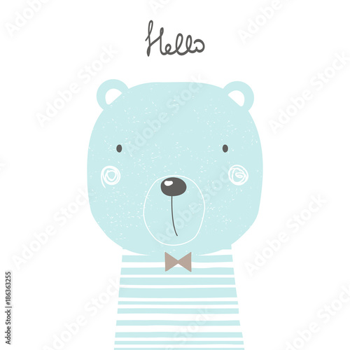 Hand drawn cool bear. Perfect for kids print, poster. Vector illustration.