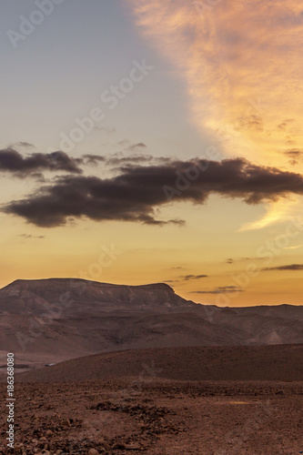 Papiers peints Arctique Vertical photo amazing landscape of yellow sunrise in negev desert israel.