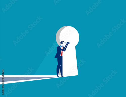 Cuadros en Lienzo Businessman cautious looking out form through large lit up keyhole