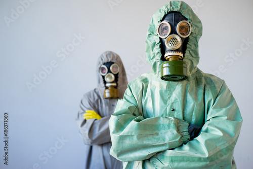 Fototapeta People in gas masks