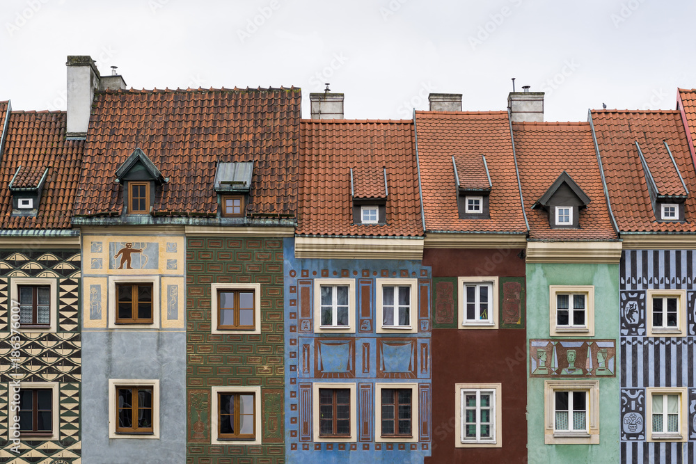 Narrow colorful tenement houses in historic main square of Poznań, Poland