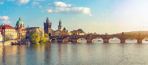 Summer Day  Sunset of  Charles Bridge  in Prague Panorama Canvas Print