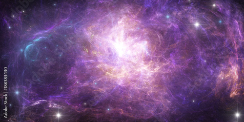 Abstract scientific background - planet in space, nebula and stars.