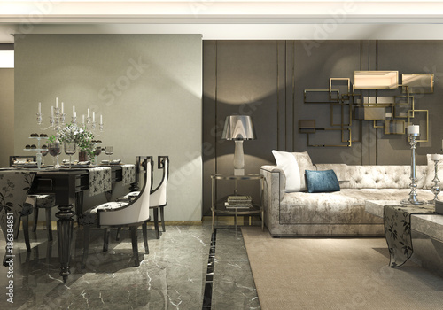 Papiers peints Retro 3d rendering luxury and modern living room and dining room