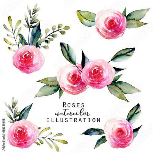 Watercolor red roses and green leaves bouquets set, hand drawn isolated on a white background Wall mural