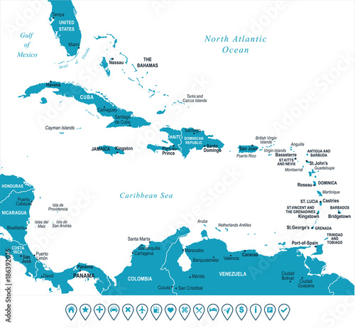 Photographie The Caribbean Map - Vector Illustration