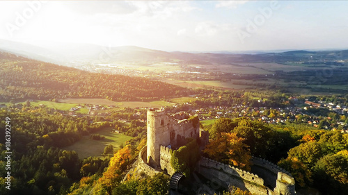 Spoed Fotobehang Kasteel Aerial view of Medieval Castle Chojnik, Lower Silesia. Castle raised in XIII th century on the top of the hill with beautiful panorama