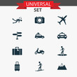 Exploration icons set with mount, pickup, scuba and other mount elements. Isolated illustration exploration icons.