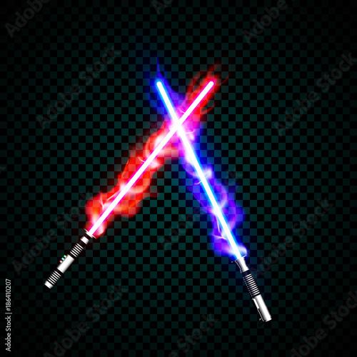 Obraz na plátně neon light swords. crossed light, fire, flash and sparkles