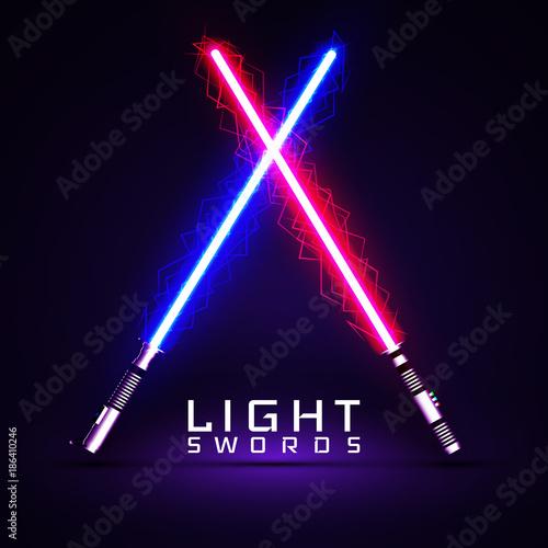 Photo  neon light swords