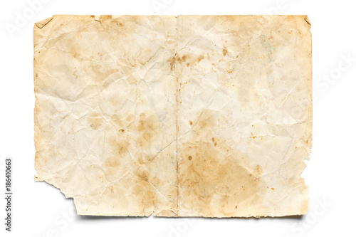 Fotografia, Obraz  Old Stained and Torn Paper isolated on White