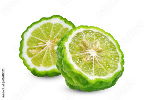 half cut slice of fresh bergamot isolated on white background Wallpaper Mural