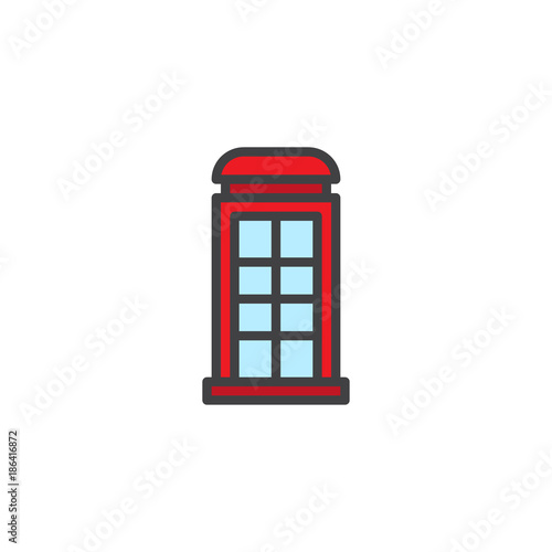 Telephone box filled outline icon, line vector sign, linear colorful pictogram isolated on white Poster