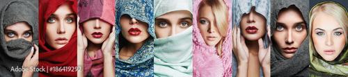 Valokuvatapetti beauty collage of beautiful women