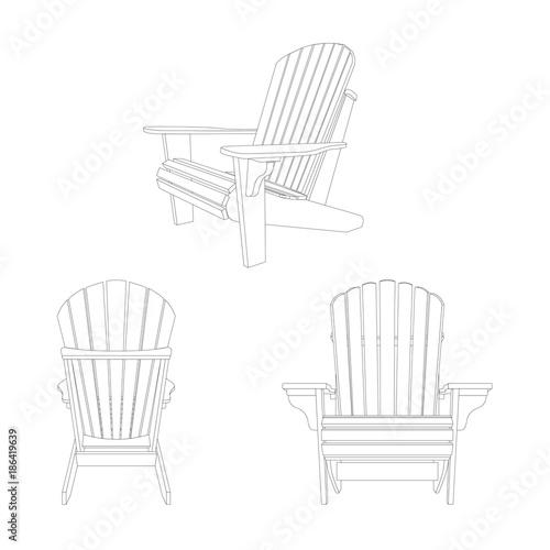 Wooden garden chair, adirondack style Wallpaper Mural