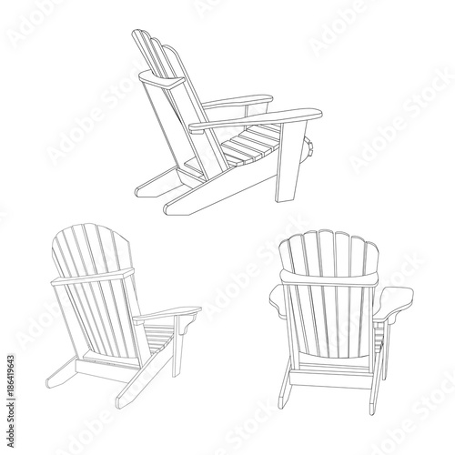 Wooden garden chair, adirondack style Wallpaper Mural