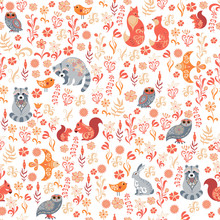 Seamless Pattern With Birds, O...