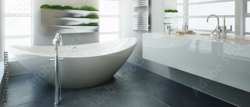 Fotografia  Modern Bathroom Adaptation (panoramic)