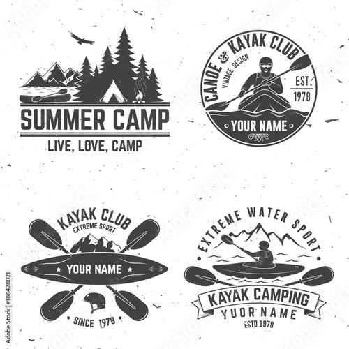Fotografía  Set of kayak club badge. Vector illustration.