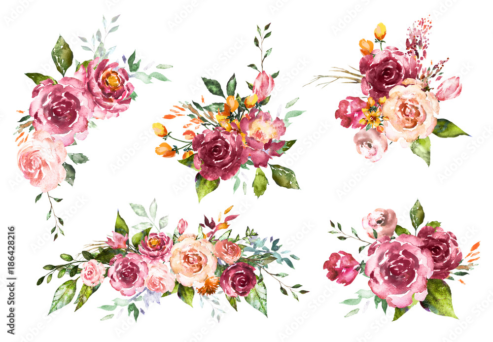 Fototapeta Set Watercolor flowers. Hand painted floral illustration. Bouquet of flowers red rose. Design arrangements for textile, greeting card. Abstraction  branch of flowers isolated on white background.