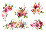 Fototapeta Kwiaty - Set Watercolor flowers. Hand painted floral illustration. Bouquet of flowers red rose. Design arrangements for textile, greeting card. Abstraction  branch of flowers isolated on white background.