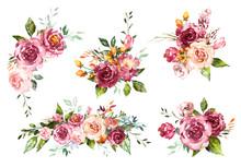 Set Watercolor Flowers. Hand P...