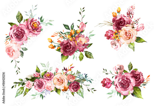 Set watercolor flowers hand painted floral illustration bouquet set watercolor flowers hand painted floral illustration bouquet of flowers red rose design altavistaventures Images
