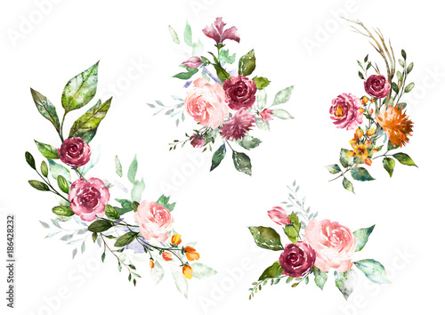 Set watercolor flowers hand painted floral illustration bouquet of set watercolor flowers hand painted floral illustration bouquet of flowers pink rose design altavistaventures Image collections