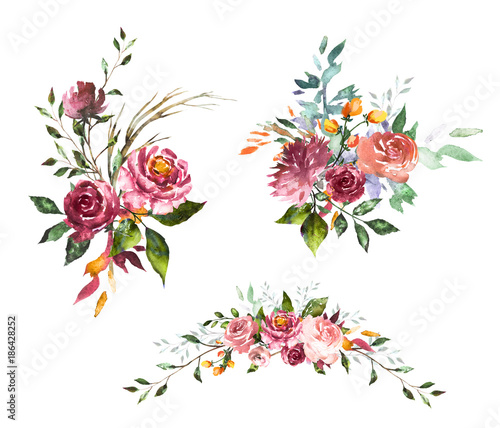 Set Watercolor Flowers Hand Painted Floral Illustration