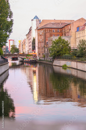 Wall Murals Bridges view of spree riverside at sunset