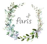 Wzór karty, projekt zaproszenia akwarela z leśnych ziół, dzikich liści. tło z elementami botanicznymi dla tekstu, ilustracji akwarela. Szablon. wieniec, okrągła rama - 186429645
