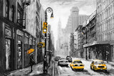 Fototapeta Nowy Jork - oil painting on canvas, street view of New York, man and woman, yellow taxi,  modern Artwork,  American city, illustration New York