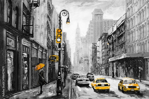Obraz oil painting on canvas, street view of New York, man and woman, yellow taxi,  modern Artwork,  American city, illustration New York - fototapety do salonu