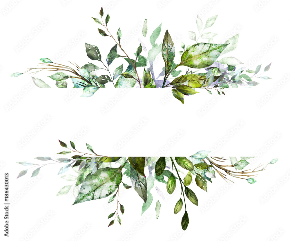 Fototapety, obrazy: Botanic Card, Watercolor invitation design with herbs and leaves. Hand painted floral background. Template. green  Frame. drawing nature