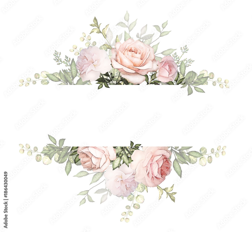 Fototapeta Vintage Card, Watercolor wedding invitation design with pink rose, bud and leaves. wild flower, background with floral elements for text, watercolor background. Template. frame
