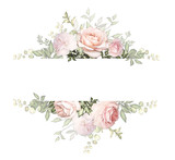 Fototapeta Kwiaty - Vintage Card, Watercolor wedding invitation design with pink rose, bud and leaves. wild flower, background with floral elements for text, watercolor background. Template. frame