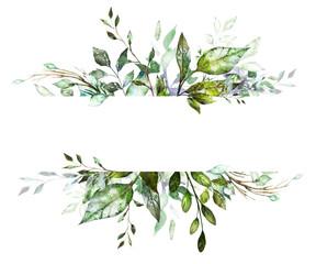 Botanička karta, dizajn pozivnice u akvarelu s biljem i lišćem. Ručno oslikana cvjetna pozadina. Predložak. zeleni Okvir. crtanje prirode