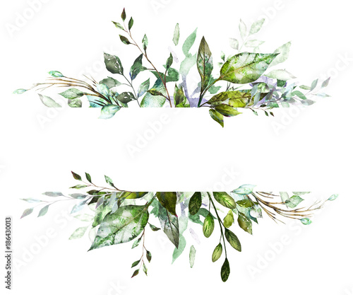 Botanic Card, Watercolor invitation design with herbs and leaves Canvas Print