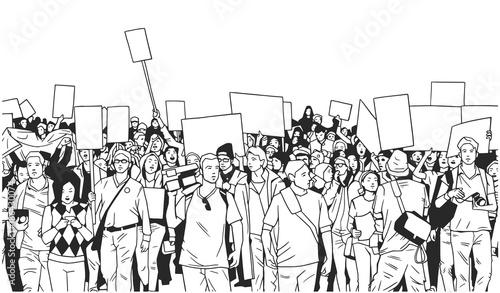 czarny-i-bialy-ilustracja-wielki-tlum-protestuje