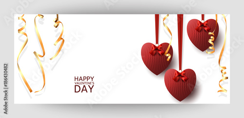 A Horizontal Gift Design Background With Red Knitted Hearts And Gold Ribbons For Valentine S Day Wedding Birthday For A Banner Postcards Flyer Label Certificate Company Card Vector Buy This Stock Vector