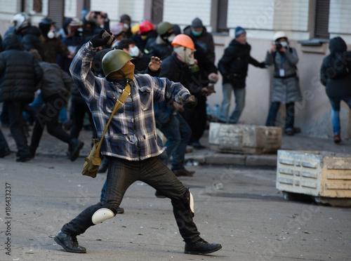 Street riots in Kiev Fototapet