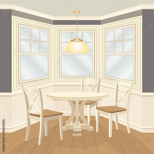 Bay window dinning group with round table and chairs. Wooden ...