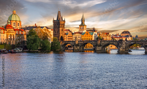 Ingelijste posters Oost Europa Prague city sunset view, Czech Republic. Panoramic view on Charles bridge