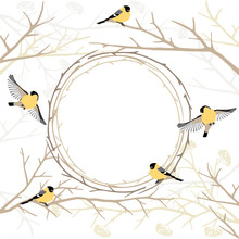 Card With Twig Frame And Birds...