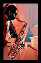 Fototapeta Muzyka / instrumenty saxophone player on grunge background
